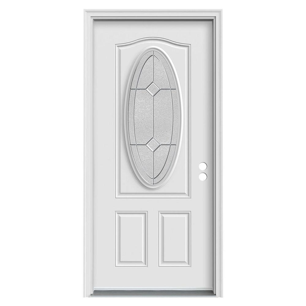 36 in. x 80 in. 3/4 Oval Lite Intersect Primed Steel
