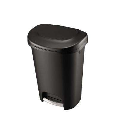 13 Gal. Black Step-On Trash Can with Metal Accent Pedal