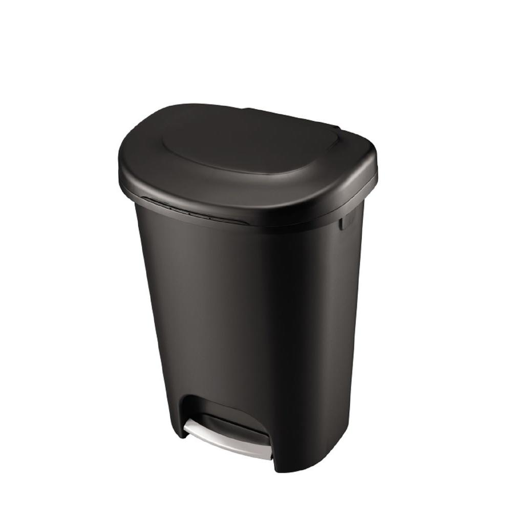 Black Step On Trash Can. Black; White