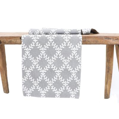 15 in. x 90 in. Piluki Leaf Crewel Embroidered Table Runner, Gray