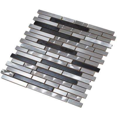 Ariya/01, Interlocking, 3 in. x 12 in. x 8 mm Metal Mesh-Mounted Mosaic Tile Sample