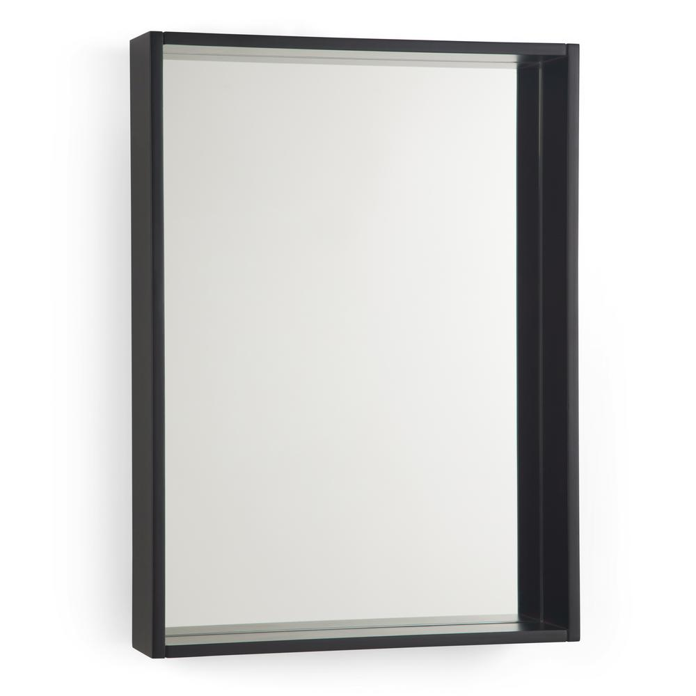 Simpli Home Russo 22 In X 30 Framed Wall Mirror Dark Walnut