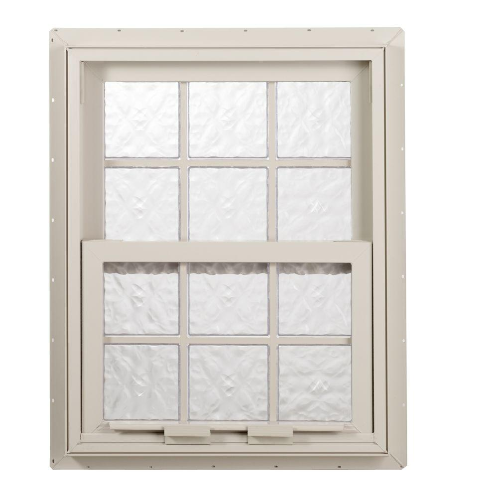 Hy-Lite 27.625 in. x 27.25 in. Glacier Pattern 6 in. Acyrlic Block Tan Vinyl Fin Single Hung Window withTanSilicone-DISCONTINUED