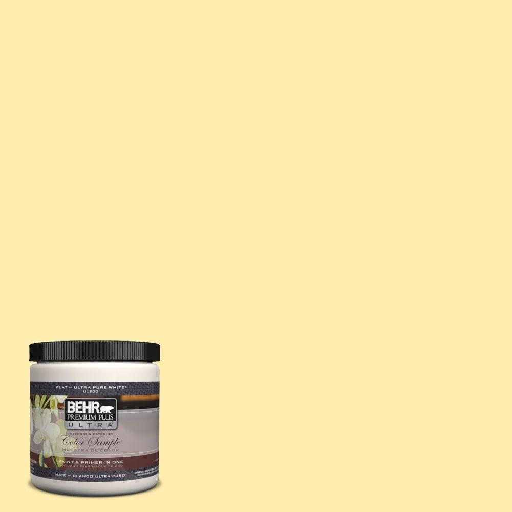 BEHR Premium Plus Ultra 8 oz. #370A-2 Pale Daffodil Matte Interior/Exterior Paint and Primer in One Sample