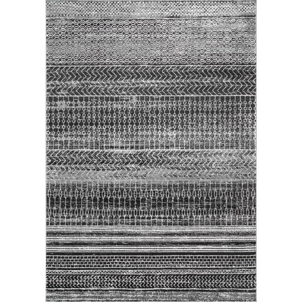 Nova Stripes Dark Gray 8 ft. x 10 ft. Area Rug