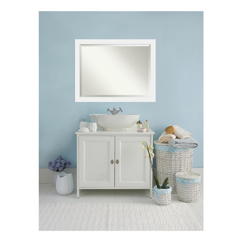 Corvino Satin White Wood 45 in. W x 35 in. H Single Contemporary Bathroom Vanity Mirror