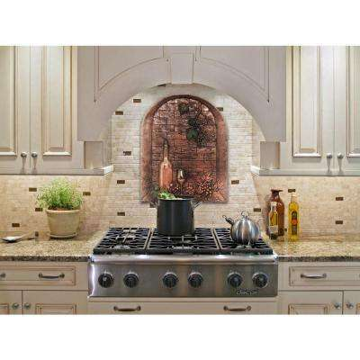 Wine Cellar 22 in. W x 28 in. H Stonecast Decorative Tile Backsplash in Copper