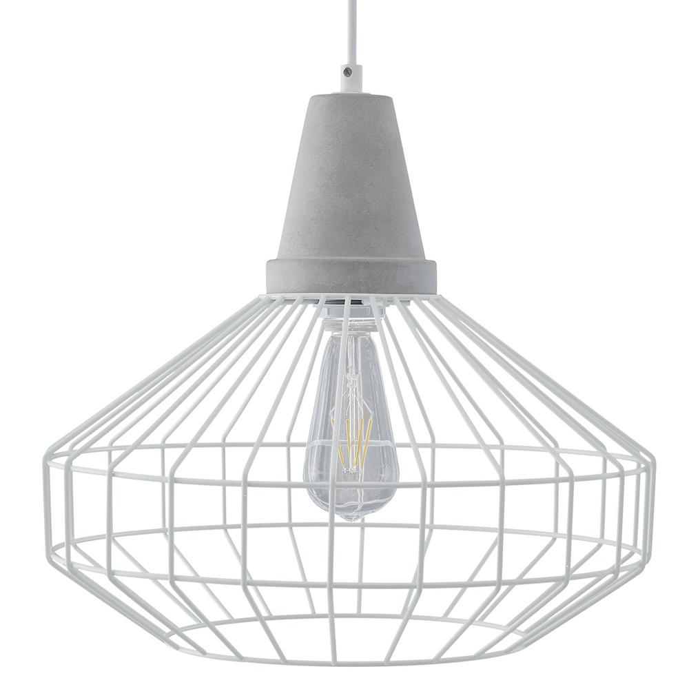 Southern Enterprises Chimm 3-Light White with Cement Gray Cage Pendant Set