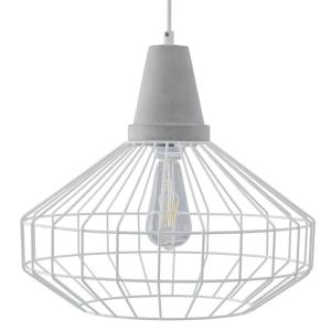 Chimm 3-Light White with Cement Gray Cage Pendant Set