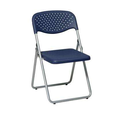 Blue Plastic Seat and Back and Silver Frame Folding Chair (4-Pack)
