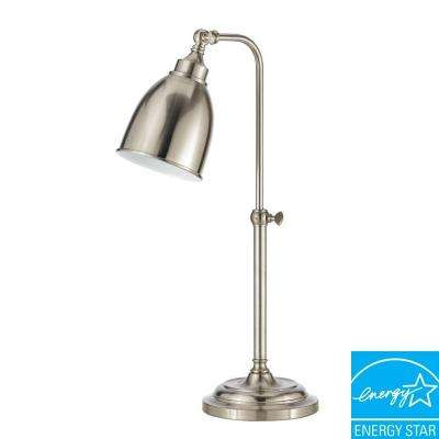 25 in. Brushed Steel Metal Adjustable Pharmacy Table Lamp