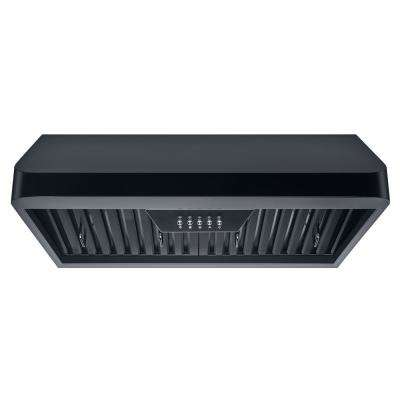 30 in. 300 CFM Under Cabinet Range Hood in Black with Baffle Filters, LED Lights and Push Buttons