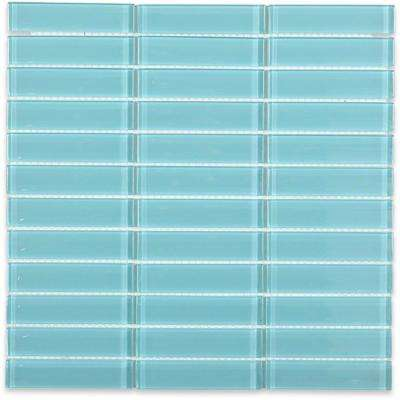 Contempo Turquoise Rectangular 12 in. x  12 in. 8mm Polished Glass Mosaic Tile  (1 sq. ft.)