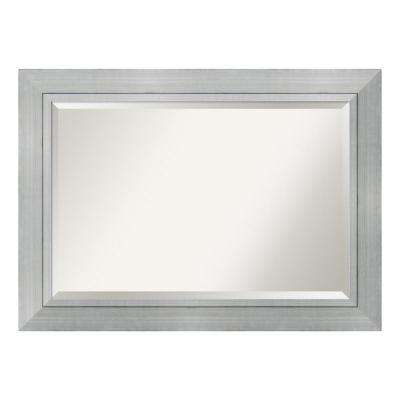 Romano Burnished Silver Wood 43 in. W x 31 in. H Single Contemporary Bathroom Vanity Mirror