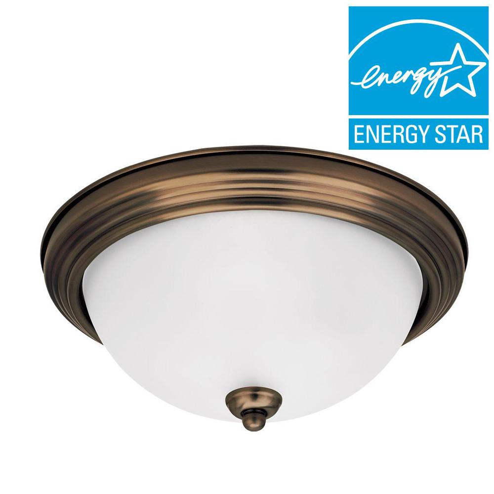 1-Light Russet Bronze Small LED Flushmount