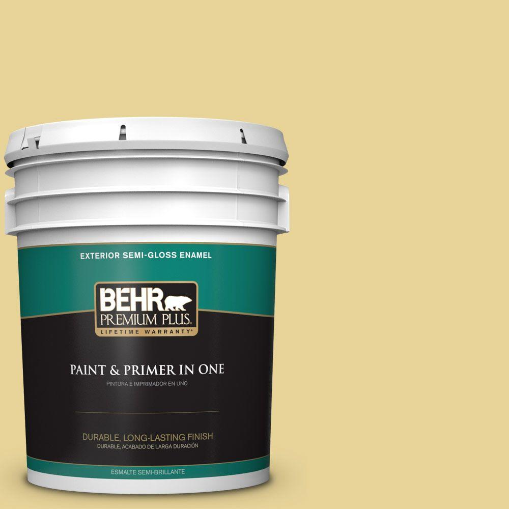 5-gal. #390D-4 Honey Beige Semi-Gloss Enamel Exterior Paint