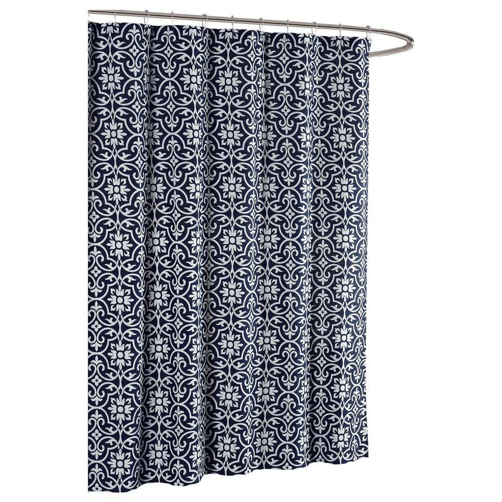 Allure Printed Cotton Blend 72 in. W x 72 in. L Soft Fabric Shower Curtain in Indigo