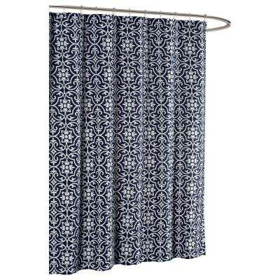 Allure Printed Cotton Blend 72 in. W x 72 in. L Soft Fabric Shower Curtain in Indigo