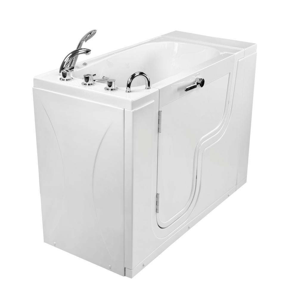 Wheelchair Transfer26 52 in. Acrylic Walk-In MicroBubble Air Bath Bathtub in White with Faucet Set, LHS 2 in. Dual Drain