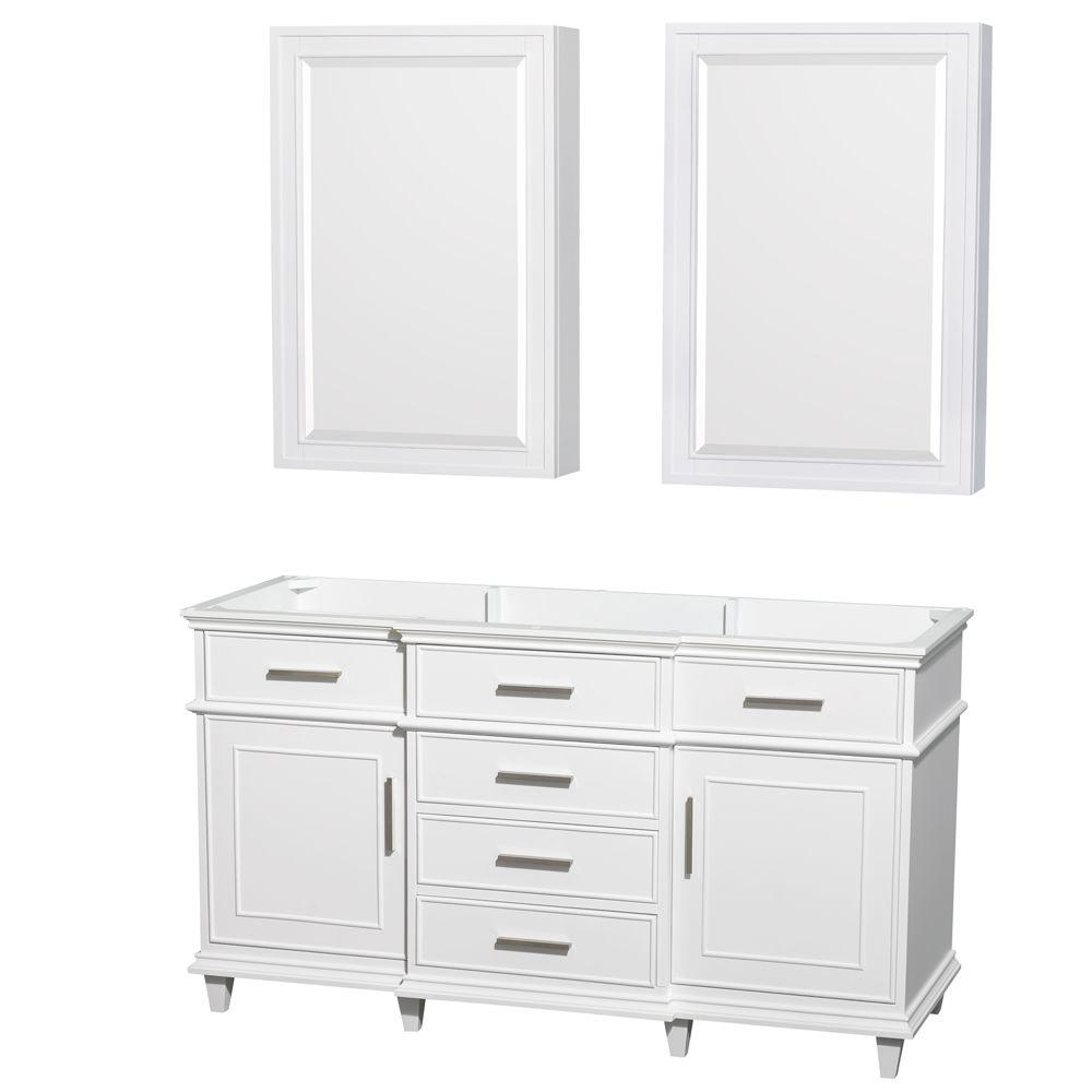 Berkeley 60 in. Double Vanity with Medicine Cabinets in White