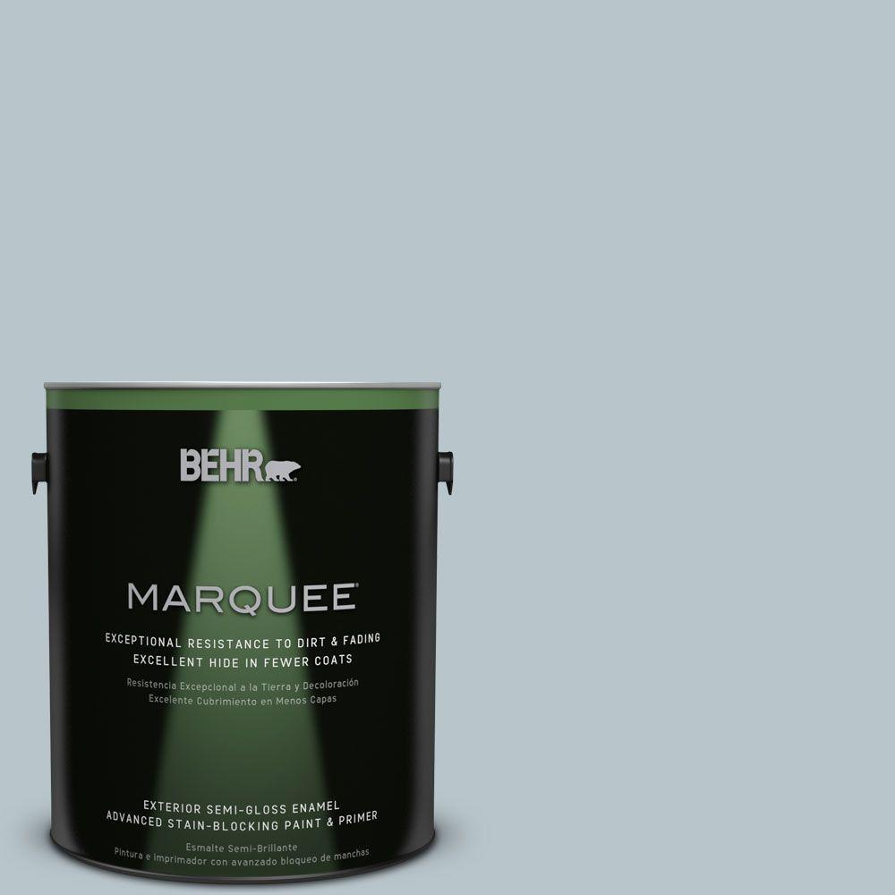 BEHR MARQUEE 1-gal. #ICC-46 Soft Denim Semi-Gloss Enamel Exterior Paint