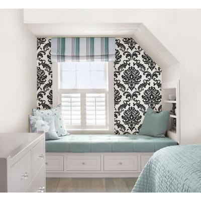 Ariel Black and White Damask Peel and Stick Wallpaper Sample