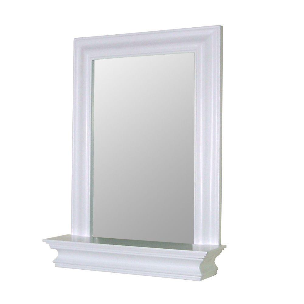 Stratford 24 in. x 18 in. Framed Wall Mirror in White