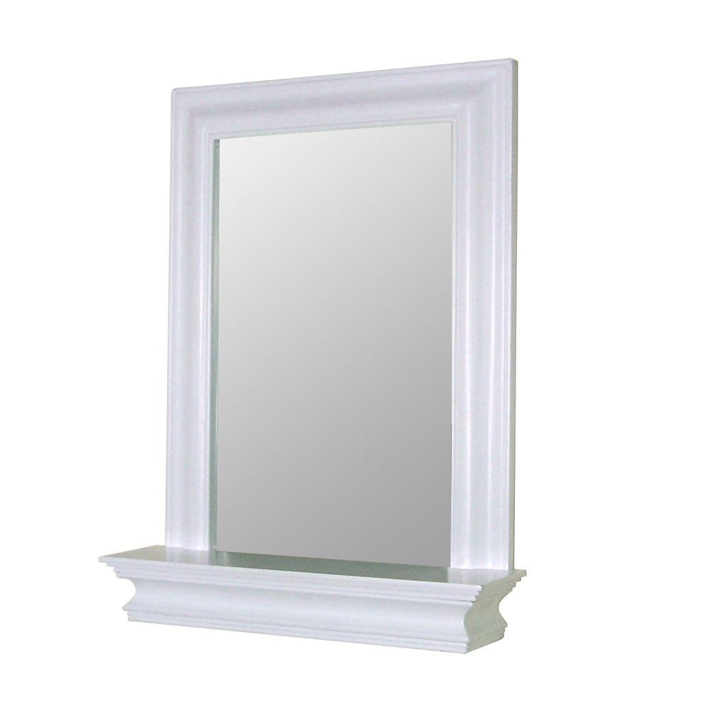 Superbe Elegant Home Fashions Stratford 24 In. X 18 In. Framed Wall Mirror In White HD16650    The Home Depot