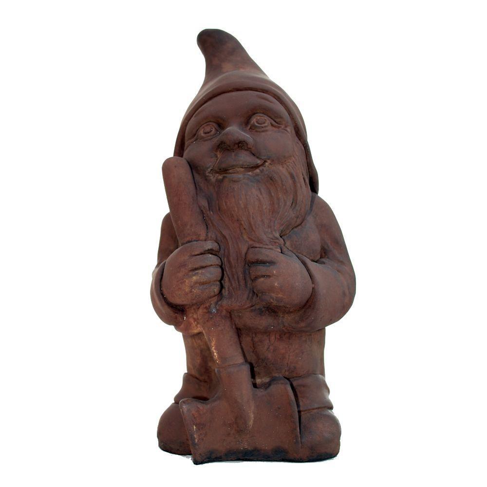Cast Stone Garden Gnome Statue - Dark Walnut by