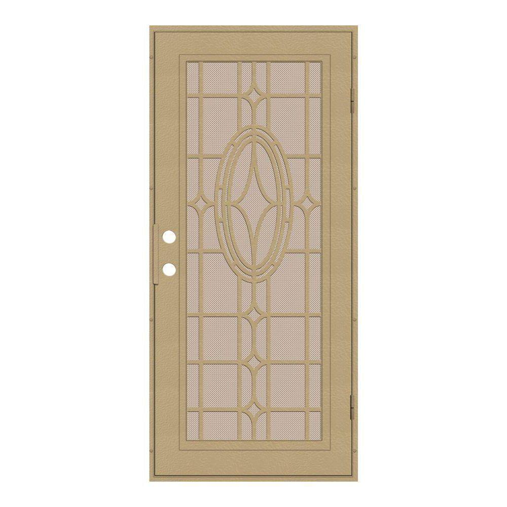 Unique Home Designs 36 in. x 80 in. Modern Cross Desert Sand Right-Hand Recessed Mount Security Door with Desert Sand Perforated Screen
