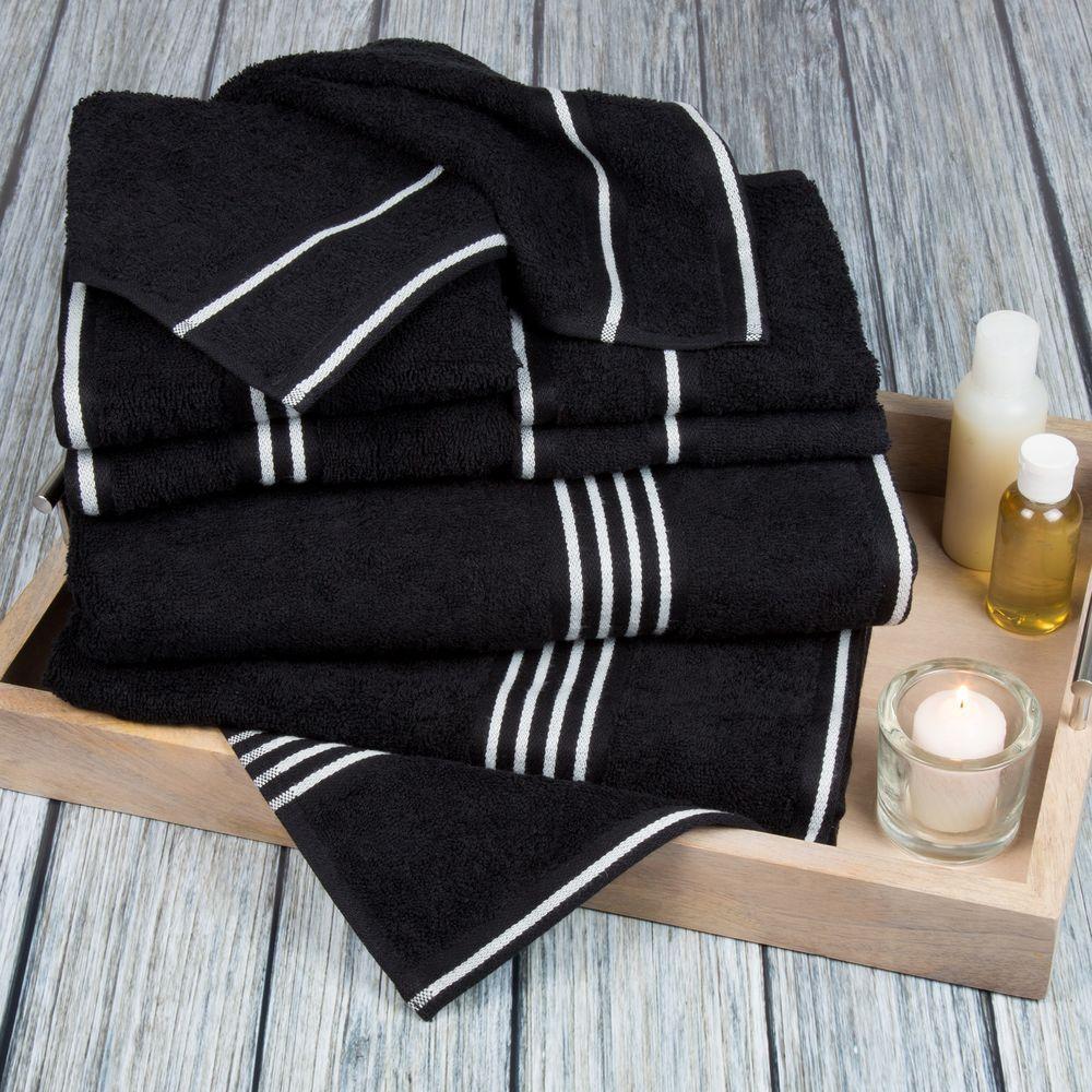 Lavish Home Rio Egyptian Cotton Towel Set in Black (8-Piece)