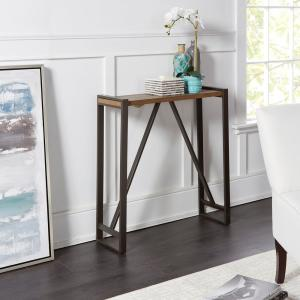 Outstanding Boston Slim Gunmetal Gray And Brown Console Table Caraccident5 Cool Chair Designs And Ideas Caraccident5Info