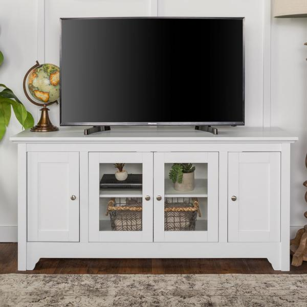 """TV Stand Entertainment Center Media Console Storage for Flat LCD up to 40/"""" White"""