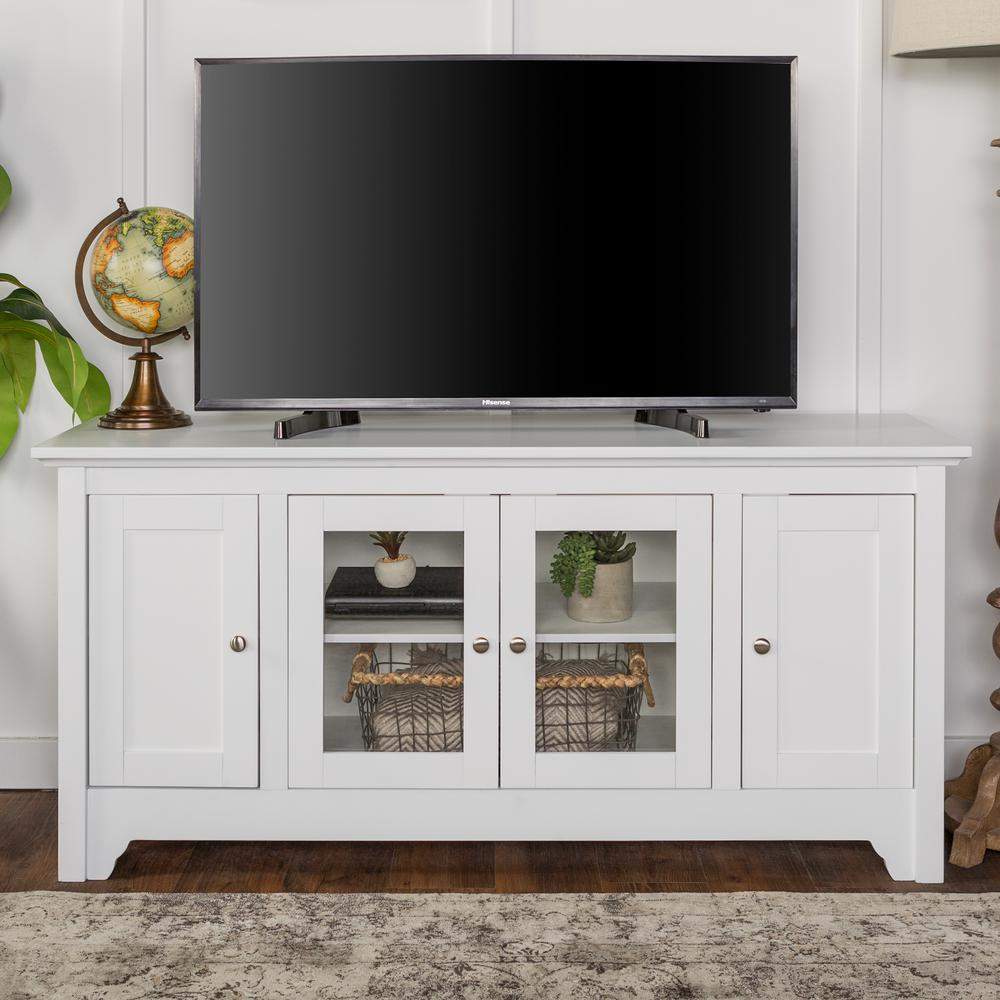 Walker Edison Furniture Company 52 In. White Wood TV Media Stand Storage  Console