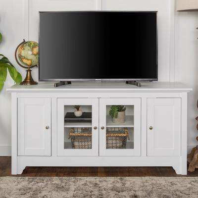 White Wood Tv Media Stand Storage Console