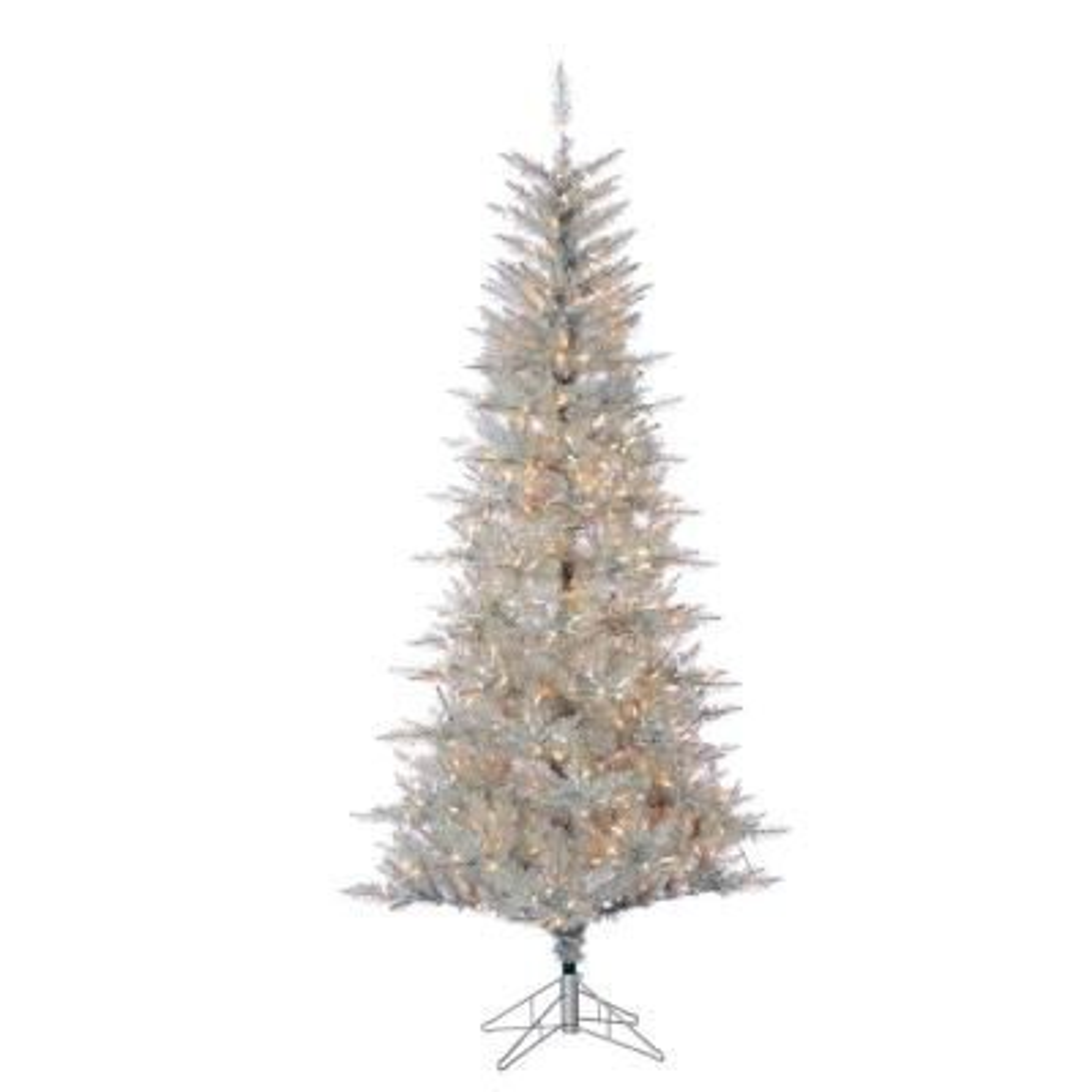 7.5 ft. Pre-Lit Silver Tuscany Tinsel Christmas Tree