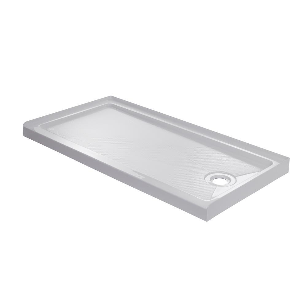 60 in. x 30 in. Single Threshold Right Drain Shower Base in White