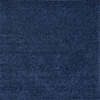 Marleen Plush Shag Navy 6 ft. Square Rug