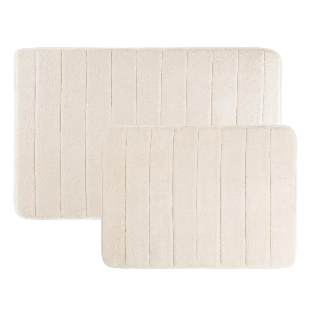 31 in. x 24.5 in. and 20.25 in. x 17 in. 2-Piece Hydro Grip Memory Foam Bath Mat in Ivory