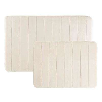31 in. x 24.5 in. and 20.25 in. x 17 in. 2-Piece Hydro Grip Memory Foam Bath Mat in Ivory