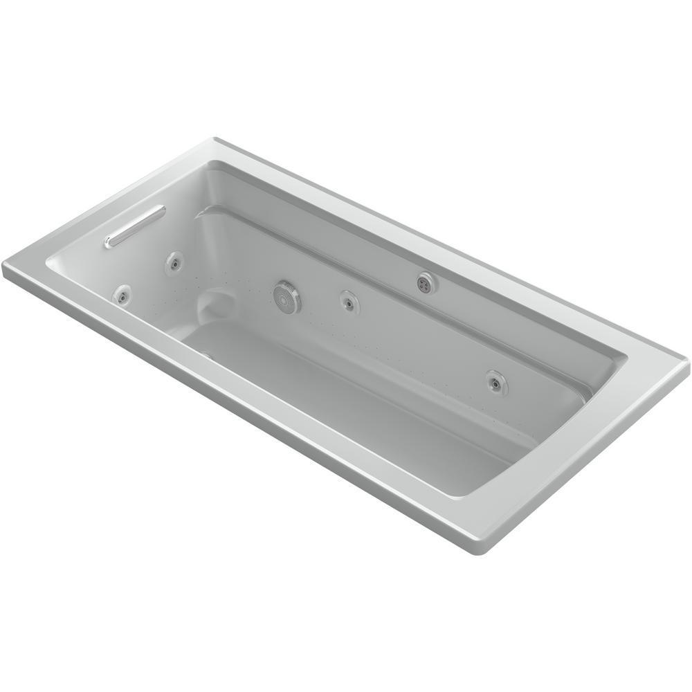 Archer 66 in. Rectangular Drop-in Whirlpool and Air Bath Bathtub in Ice Grey