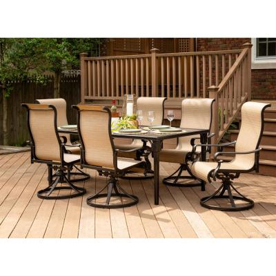 Brigantine 7-Piece Aluminum Outdoor Dining Set with a 40 in. x 70 in. Glass-Top Table and 6-Sling Swivel Rockers