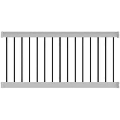 Deck Top 4 ft. x 36 in. Level Rail Kit White with Round Aluminum Balusters