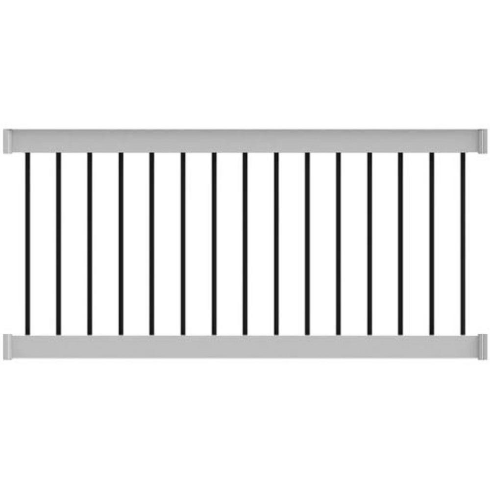Deck Top 72 in. x 36 in. Level Rail Kit White with Round Aluminum Balusters