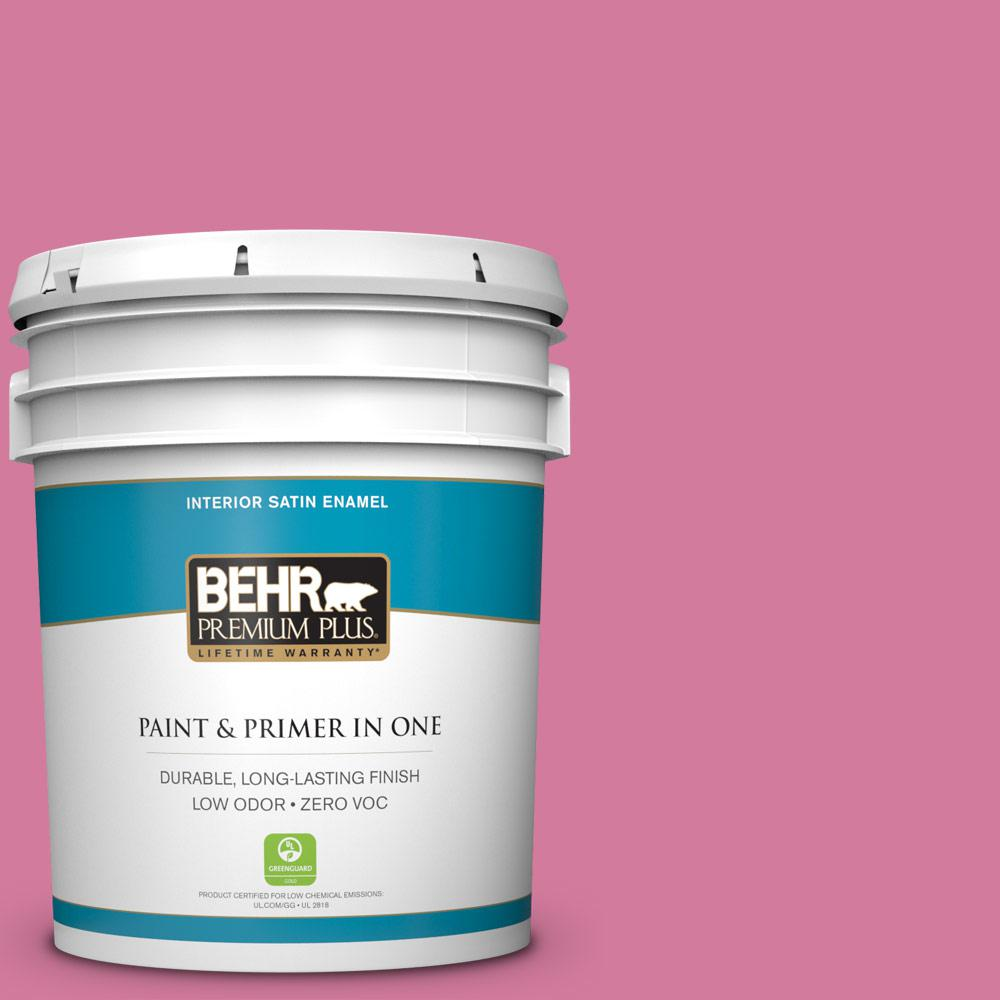 5-gal. #P130-5 Little Bow Pink Satin Enamel Interior Paint