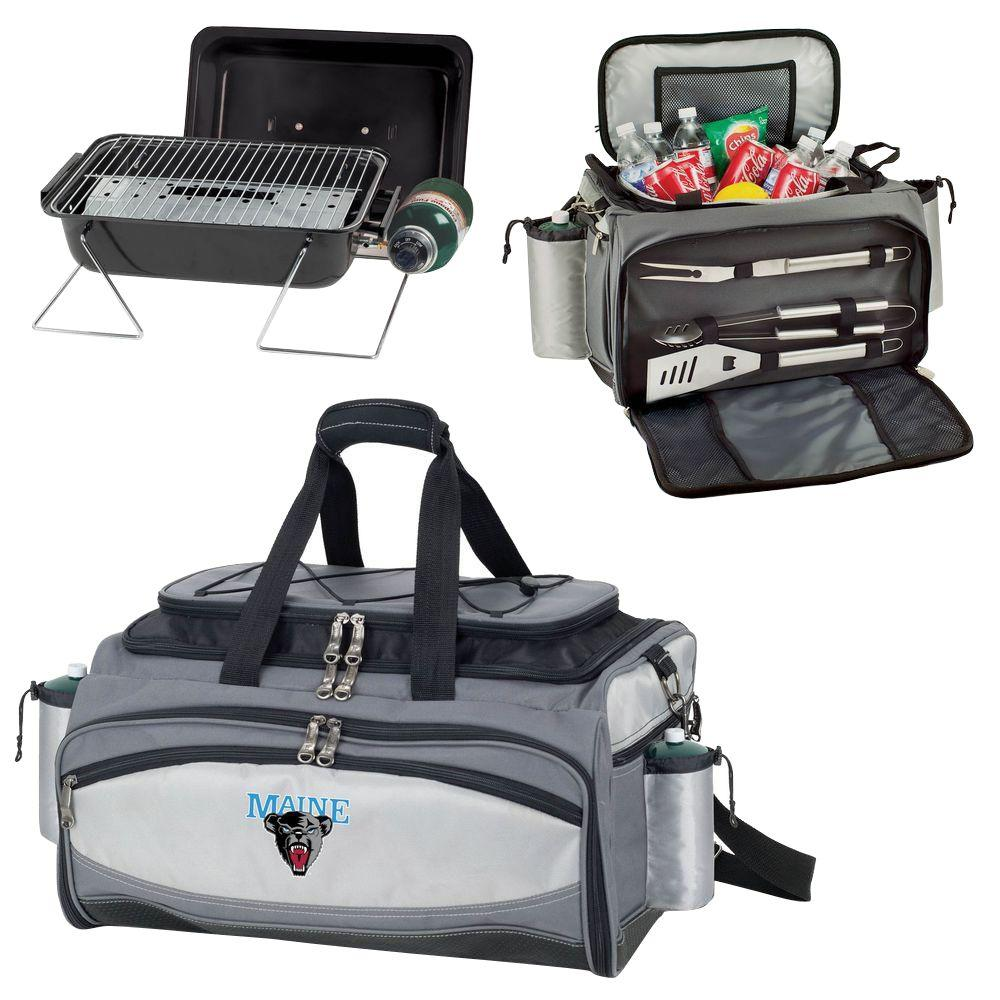 Picnic Time Maine Black Bears - Vulcan Portable Propane Grill and Cooler Tote with Digital Logo