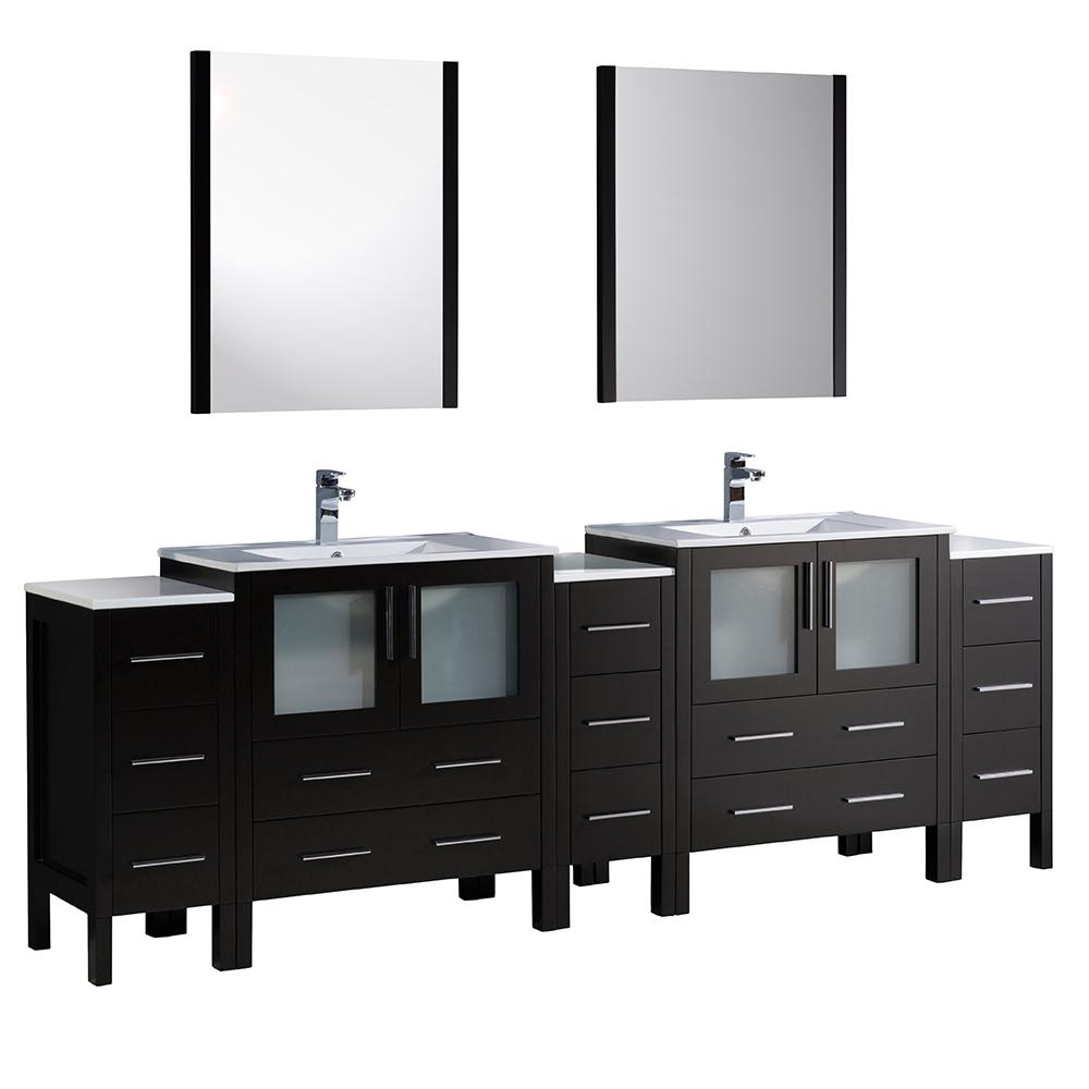 Fresca Torino 96 in. Double Vanity in Espresso with Ceramic Vanity Top in White with White Basins and Mirrors