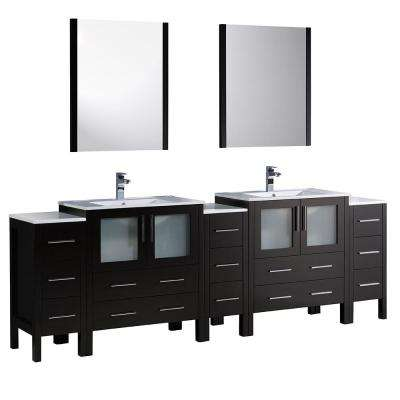 Torino 96 in. Double Vanity in Espresso with Ceramic Vanity Top in White with White Basins and Mirrors