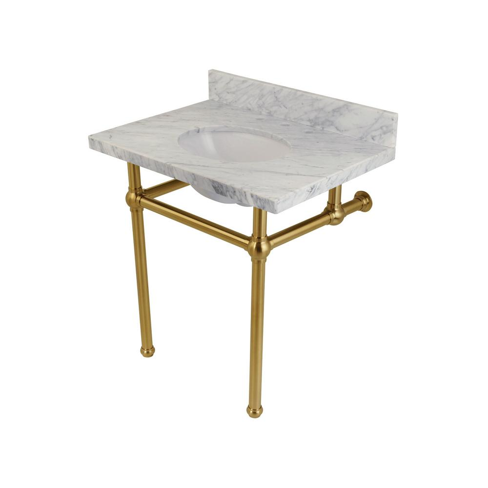 Kingston brass washstand 30 in console table in carrara white with metal legs in satin