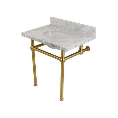 Washstand 30 in. Console Table in Carrara White with Metal Legs in Satin Brass